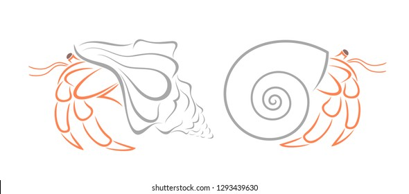 Crab hermit outline. Isolated crab on white background
