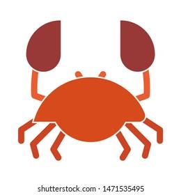 crab icon. flat illustration of crab - vector icon. crab sign symbol