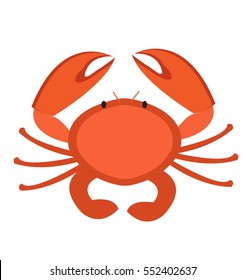 Crab icon flat style. Isolated on white background. Vector illustration, clip art