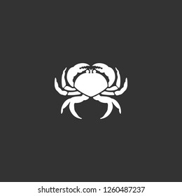 crab icon vector. crab sign on black background. crab icon for web and app