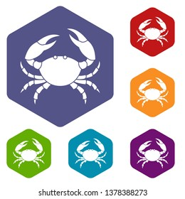 Crab icons vector colorful hexahedron set collection isolated on white