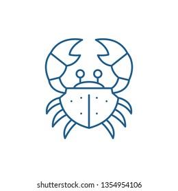 Crab line icon concept. Crab flat  vector symbol, sign, outline illustration.