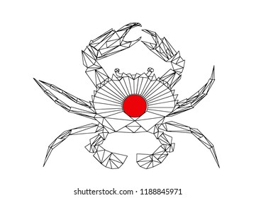 A crab, low poly vector illustration.