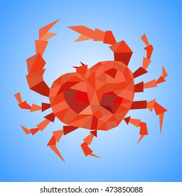 Crab made with triangles and polygons.