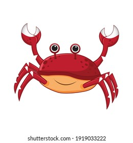 The crab is a marine and land animal that swims underwater. Cartoon cancer vector illustration isolated on white background.