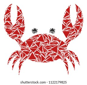 Crab mosaic of triangle elements in variable sizes and shapes. Vector polygons are composed into crab mosaic. Geometric abstract vector illustration.