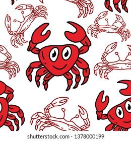 Crab Pattern Seamless Design Template Vector