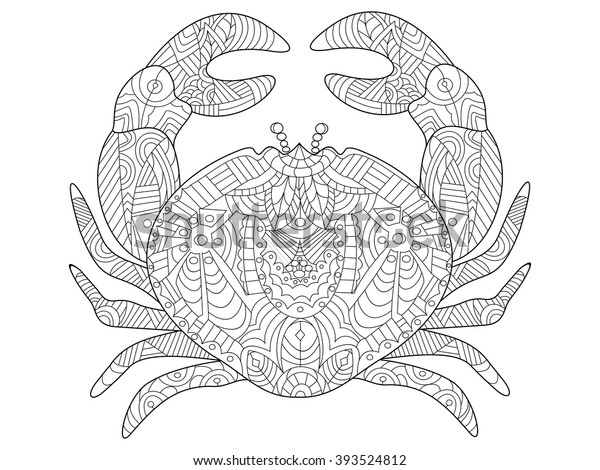 Crab Sea Animal Coloring Book Adults Stock Vector (Royalty Free) 393524812