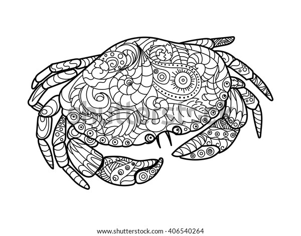 Crab Sea Animal Coloring Book Adults Stock Vector (Royalty Free) 406540264