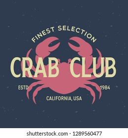 Crab, seafood. Vintage icon crab label, logo, print sticker for Meat Restaurant, butchery meat shop poster with text, typography crab, seafood. Crab silhouette. Poster, banner. Vector illustration.