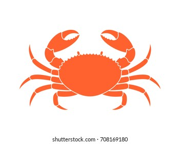Crab silhouette. Isolated crab on white background. EPS 10. Vector illustration
