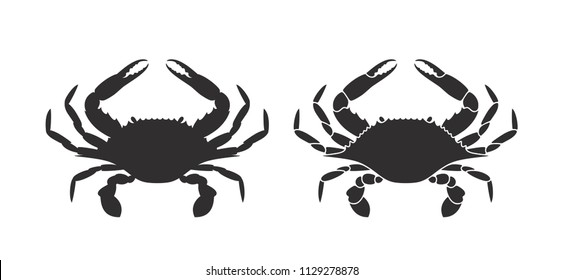 Crab silhouette. Logo. Isolated crab on white background. EPS 10. Vector illustration