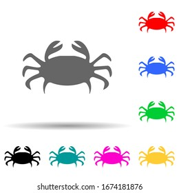 crab silhouette multi color style icon. Simple glyph, flat vector of zoo icons for ui and ux, website or mobile application