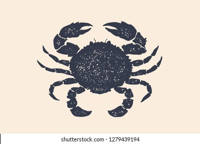 Crab silhouette. Vintage logo, retro print, poster for Butchery meat shop, crab silhouette. Logo template for meat business, meat shop. Isolated black white silhouette crab Vector Illustration