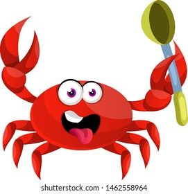 Crab with spoon, illustration, vector on white background.