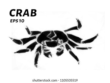 Crab of triangles. Low poly crab. Vector illustration