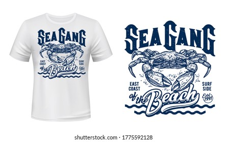 Crab t-shirt print mockup, surfing club, sea waves. Sea Gang of Beach quote of ocean surf sporting team with crab marine mascot for t shirt print