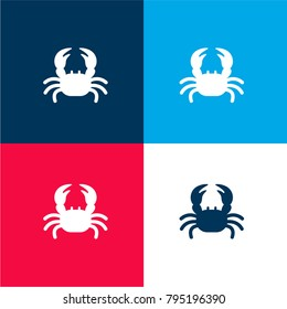 Crab with Two Claws four color material and minimal icon logo set in red and blue