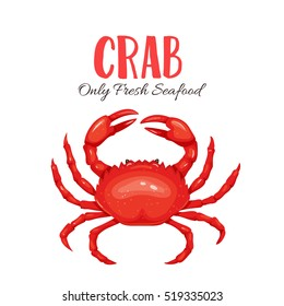 Crab vector illustration in cartoon style. Seafood product design.