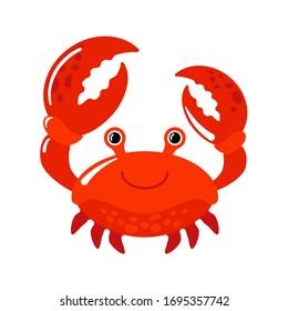 crab vector illustration. drawn cartoon character crab vector illustration isolated on white background.