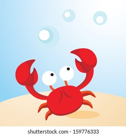 Crab. Vector illustration of a humorous crab.