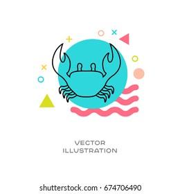 Crab vector line logo icon with colorful design elements memphis styled in background