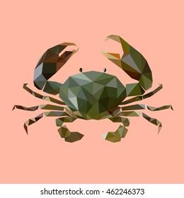 crab vector, polygonal crab, poly art