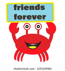 crab.cartoon icon. crab friends forever vector illustration for t-shirt print and other uses. Can be used for design of cards