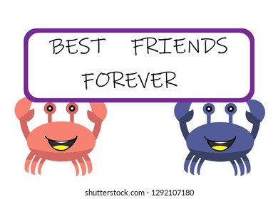 crab.cartoon icon. two crabs best friends forever vector illustration for t-shirt print and other uses. Can be used for design of cards
