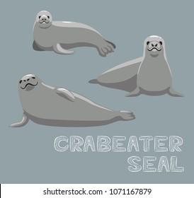 Crabeater Seal Cartoon Vector Illustration