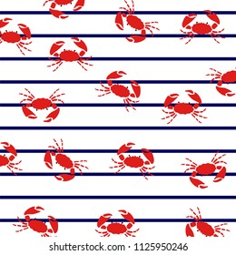 Crabs on marine stripes. Summer pattern.