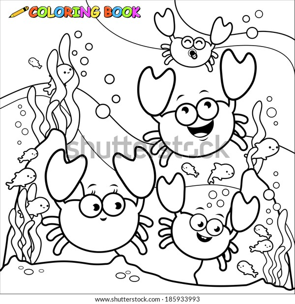 Crabs swimming underwater. Vector black and white coloring page.