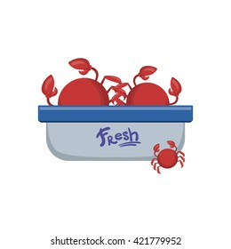 Crabs In Tupperware Container Flat Primitive Design Bright Color Vector Icon On White Background