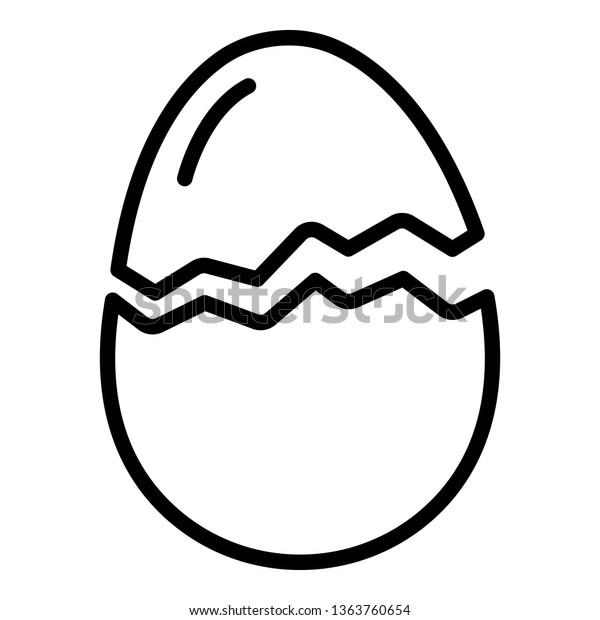 Crack half egg icon. Outline crack half egg vector icon for web design isolated on white background
