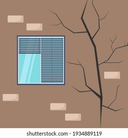 Crack on the wall of the house. Damaged plaster near the window. Defect concept, destruction of a building, repair or construction work. Bad, old condition of the house. Vector illustration.