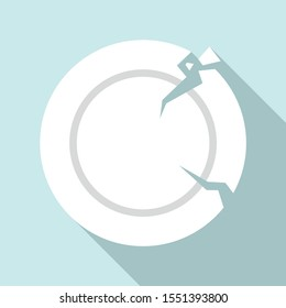 Crack plate icon. Flat illustration of crack plate vector icon for web design