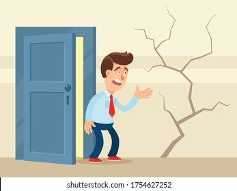 Crack in the wall of house. Frustrated resident of the house looks at a huge crack in the wall. Old house is in poor condition, repairs are needed. Vector illustration, flat design cartoon style.
