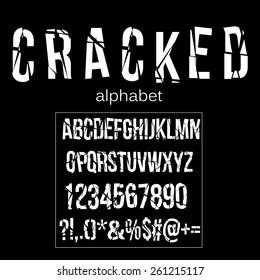 Cracked alphabet vector