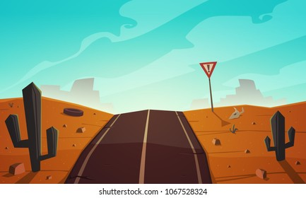 The cracked asphalt road trough the desert landscape. Cartoon vector illustration.
