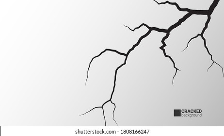 Cracked background. Earthquake and ground cracks, hole effect, craquelure and damaged wall texture. Vector concept background can be used for topics earthquake, crash, destruction