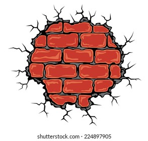 Cracked birck wall in cartoon style. Vector illustration