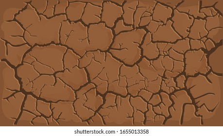 Cracked Brown and barren desert earth background banner caused by drought from global warming