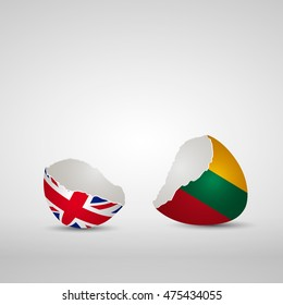 Cracked egg shell, one side with flag of United Kingdom and other one with flag of Lithuania