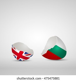 Cracked egg shell, one side with flag of United Kingdom and other one with flag of Bulgaria