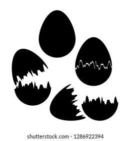 Cracked eggshell. An empty egg shell halves. Broken eggs cracked open easter eggshell. Design icons set. Vector illustration.