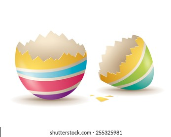 Cracked eggshell. An empty egg shell halves over white background.