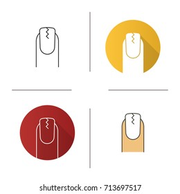 Cracked fingernail icon. Flat design, linear and color styles. Brittle nail. Isolated vector illustrations
