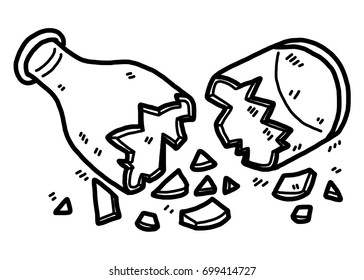cracked glass bottle / cartoon vector and illustration, black and white, hand drawn, sketch style, isolated on white background.