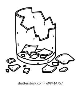 cracked glass / cartoon vector and illustration, black and white, hand drawn, sketch style, isolated on white background.