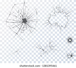 Cracked glass. Set of vector cracks isolated on transparent background. Abstract broken elements. Two bullet holes. Destruction and accidents design. Sharp broken edges at the holes, realistic texture